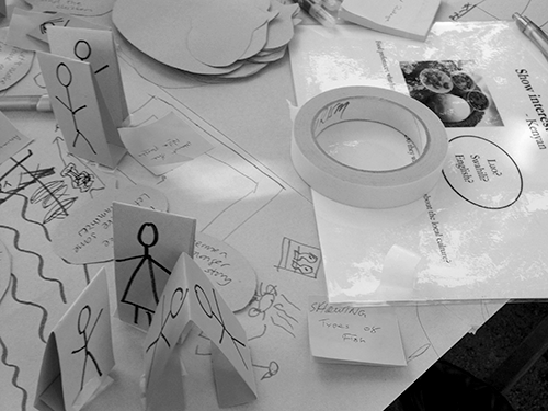 Workshop with local tour guides,  consisting of co-creative activities for  developing a guided tour. The workshop  method is inspired by service design methods  such as a desktop walkthrough, inwhich a  visual overview of, for example, aservice is  created. (Photos by Eva Maria Jernsand)