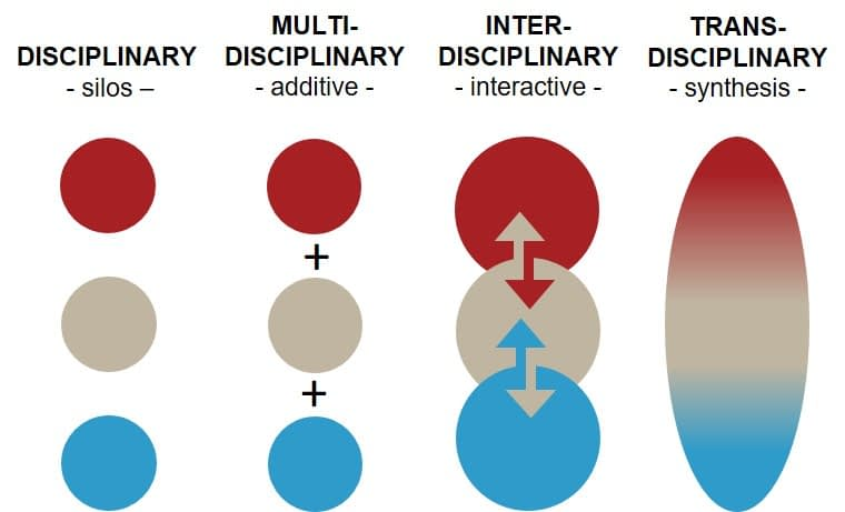 The difference between disciplinary, multi-, inter- and transdisciplinary working modes